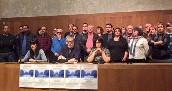 Rueda de prensa en la que se ha convocado a la concentración contra el fascismo. (Foto: Izquierda Ezkerra @EzkerraN)